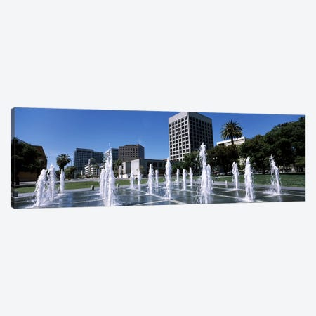 Fountain in a parkPlaza De Cesar Chavez, Downtown San Jose, San Jose, Santa Clara County, California, USA Canvas Print #PIM7767} by Panoramic Images Canvas Art Print