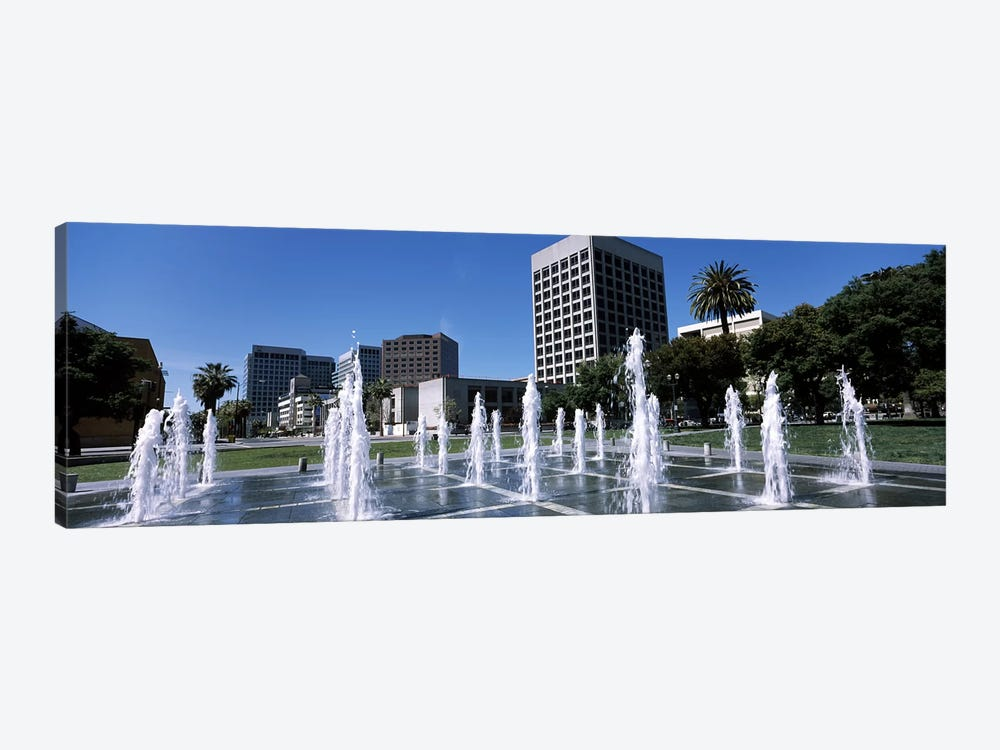 Fountain in a parkPlaza De Cesar Chavez, Downtown San Jose, San Jose, Santa Clara County, California, USA by Panoramic Images 1-piece Canvas Wall Art