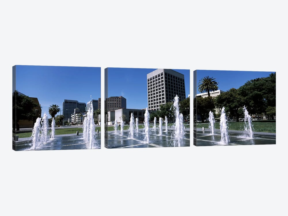 Fountain in a parkPlaza De Cesar Chavez, Downtown San Jose, San Jose, Santa Clara County, California, USA by Panoramic Images 3-piece Canvas Wall Art