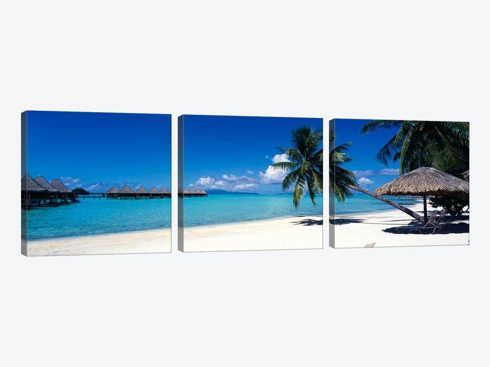 Tropical Beach, Bora Bora, Leeward Islands, Society Islands, French Polynesia by Panoramic Images 3-piece Canvas Art