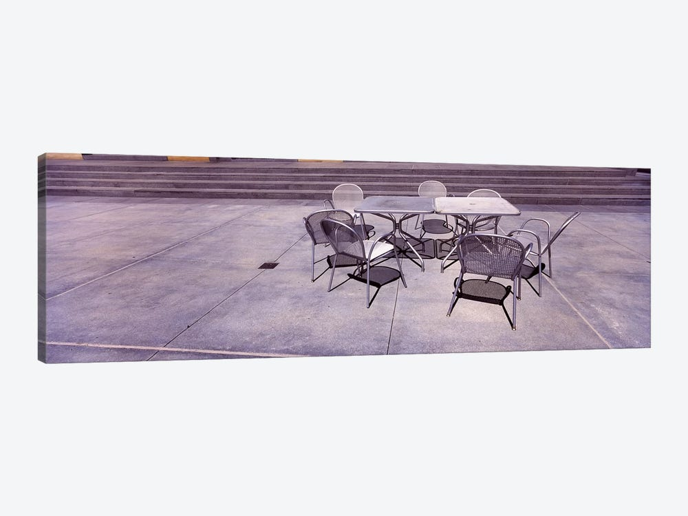 Tables with chairs on a streetSan Jose, Santa Clara County, California, USA by Panoramic Images 1-piece Canvas Art
