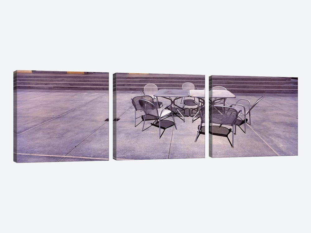 Tables with chairs on a streetSan Jose, Santa Clara County, California, USA by Panoramic Images 3-piece Canvas Wall Art