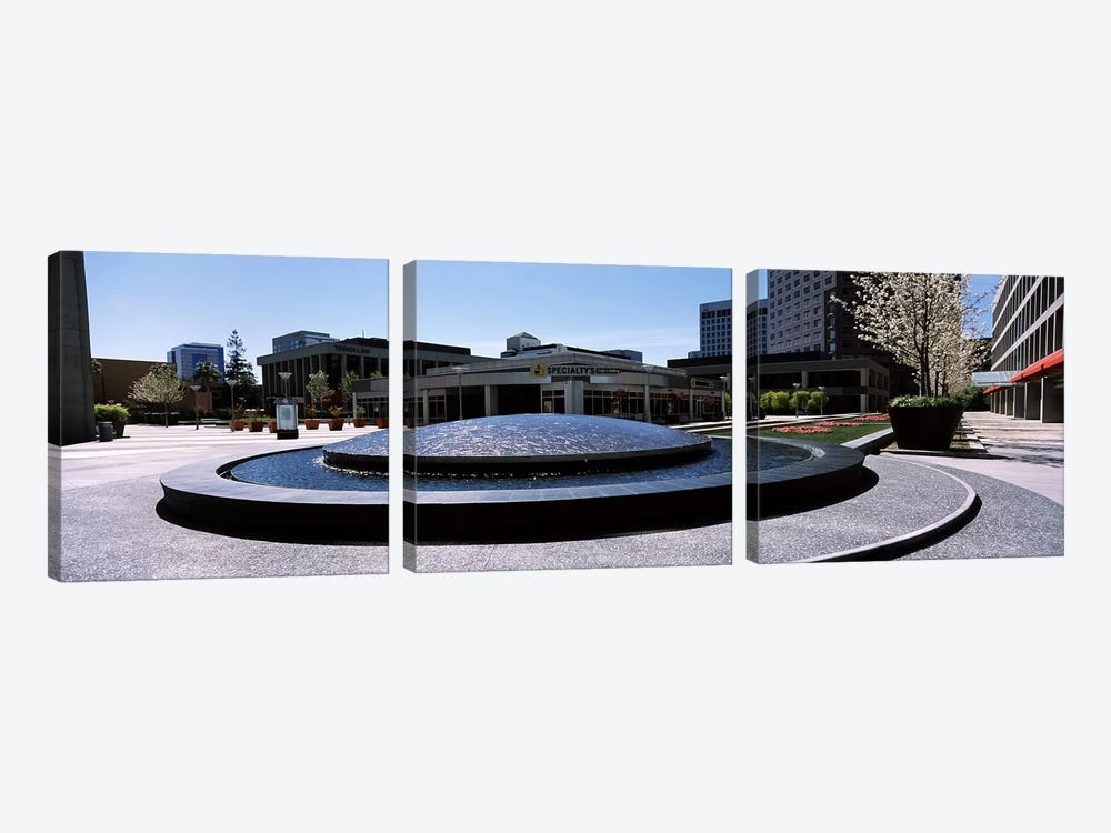 Fountain in a parkPlaza De Cesar Chavez, Downtown San Jose, San Jose, Santa Clara County, California, USA by Panoramic Images 3-piece Canvas Print