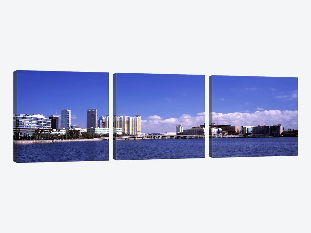 City at the waterfront, Hillsborough Bay, Tampa, Hillsborough County, Florida, USA by Panoramic Images 3-piece Canvas Art Print