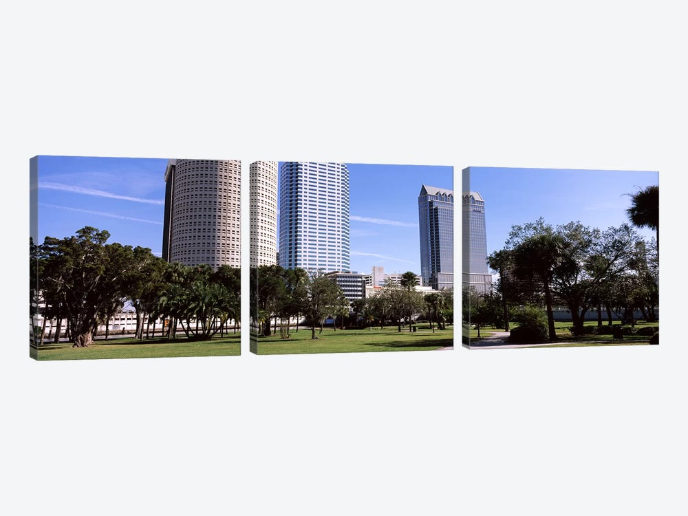 Buildings in a city viewed from a park, Plant Park, University Of Tampa, Tampa, Hillsborough County, Florida, USA by Panoramic Images 3-piece Canvas Artwork