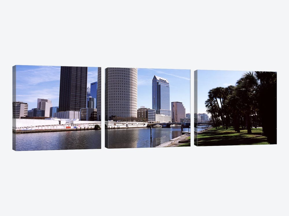 Buildings viewed from the riversideHillsborough River, University of Tampa, Tampa, Hillsborough County, Florida, USA by Panoramic Images 3-piece Canvas Print