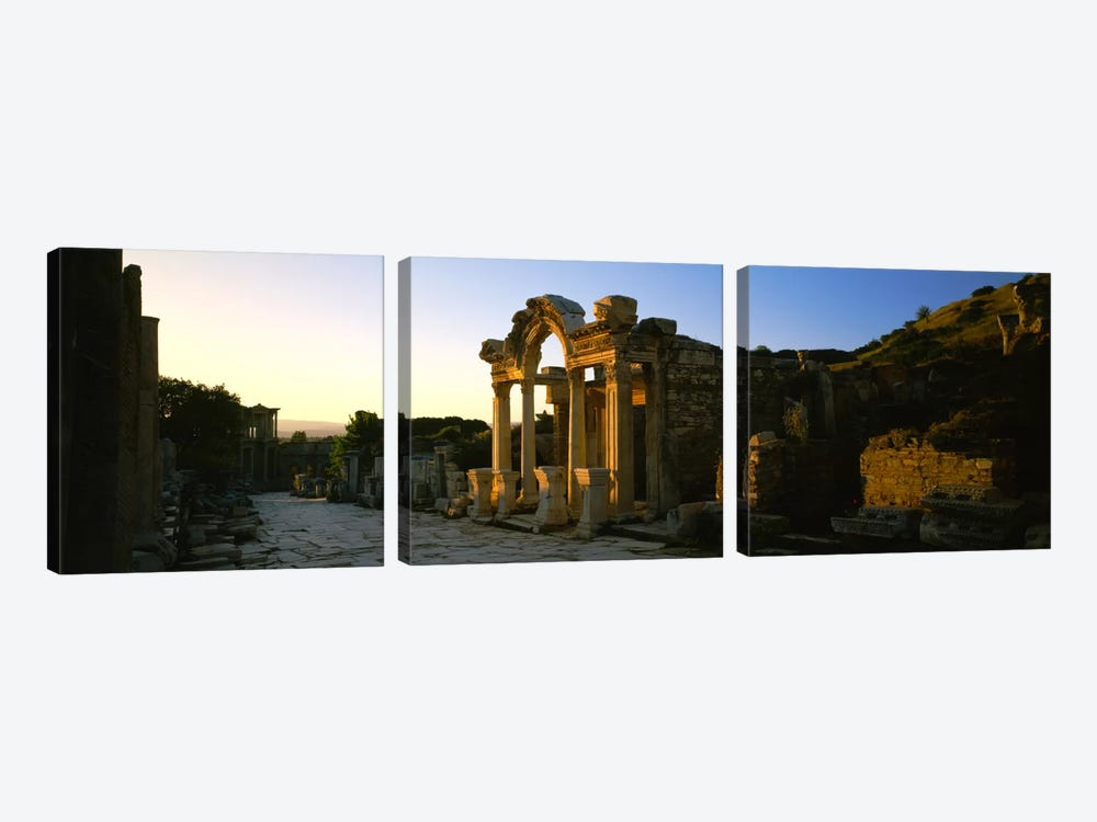 Facade of a temple, Hadrian Temple, Ephesus, Turkey by Panoramic Images 3-piece Canvas Art Print