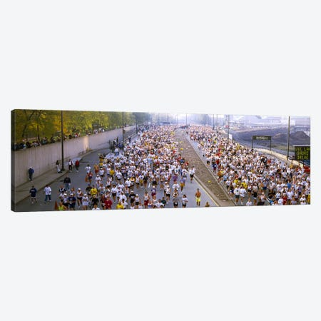 Crowd running in a marathonChicago Marathon, Chicago, Illinois, USA Canvas Print #PIM7784} by Panoramic Images Canvas Art Print