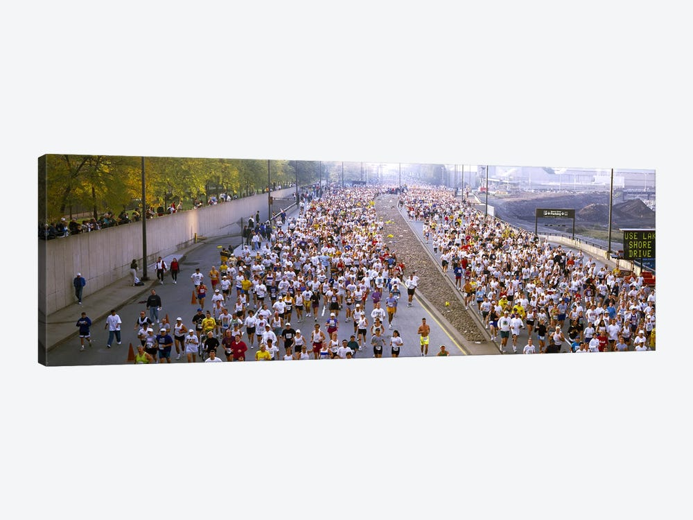 Crowd running in a marathonChicago Marathon, Chicago, Illinois, USA by Panoramic Images 1-piece Art Print