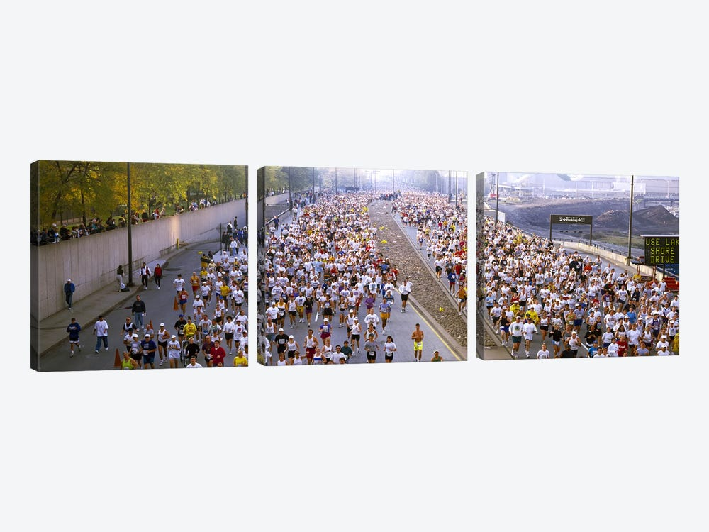 Crowd running in a marathonChicago Marathon, Chicago, Illinois, USA by Panoramic Images 3-piece Canvas Print