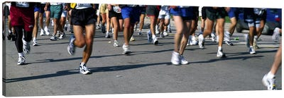 Low section view of people running in a marathonChicago Marathon, Chicago, Illinois, USA Canvas Art Print