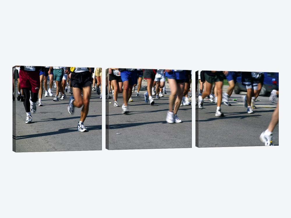 Low section view of people running in a marathonChicago Marathon, Chicago, Illinois, USA 3-piece Art Print