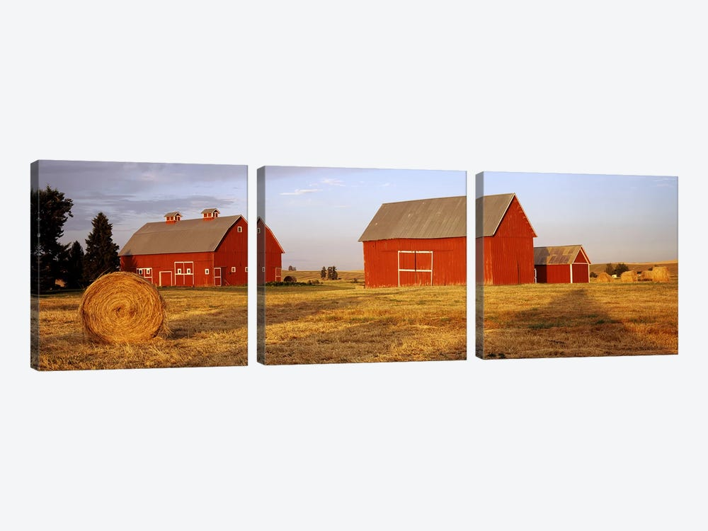 Red barns in a farm, Palouse, Whitman County, Washington State, USA by Panoramic Images 3-piece Canvas Wall Art