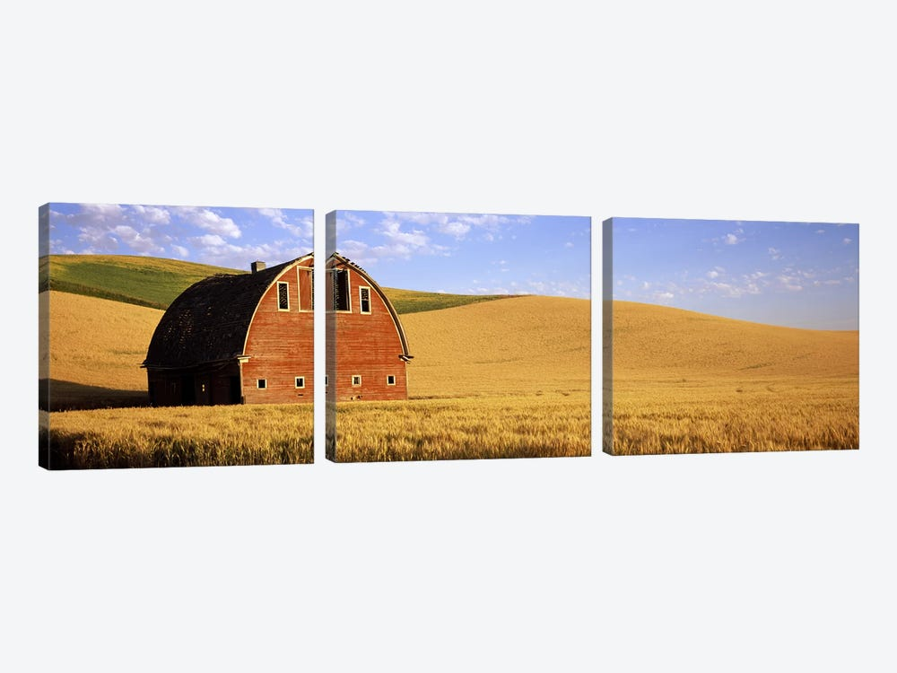 Old barn in a wheat field, Palouse, Whitman County, Washington State, USA #3 by Panoramic Images 3-piece Canvas Print