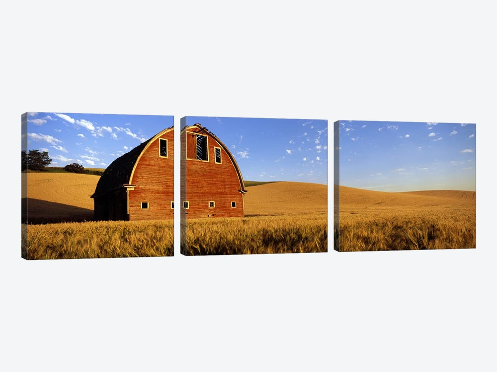 Old barn in a wheat field, Palouse, Whitman County, Washington State, USA #4 by Panoramic Images 3-piece Canvas Art