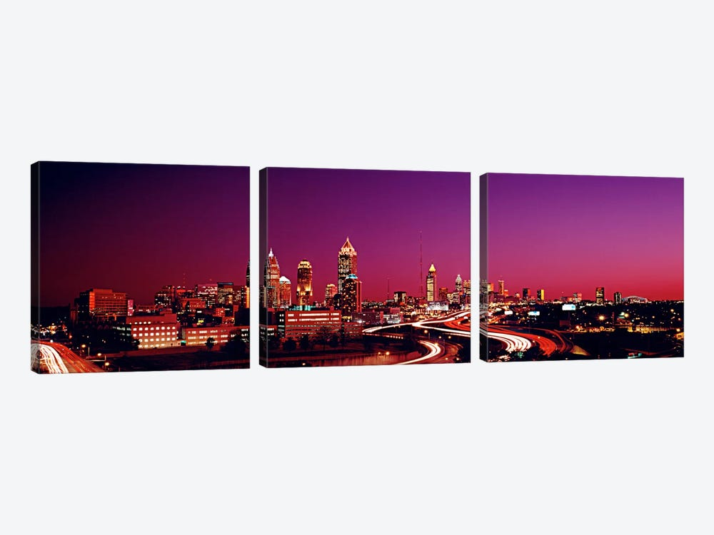 USA, Georgia, Atlanta, night 3-piece Canvas Artwork
