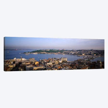 High-Angle View Of The Golden Horn (Halic) And Surrounding Neighborhoods, Istanbul, Turkey Canvas Print #PIM780} by Panoramic Images Canvas Art Print