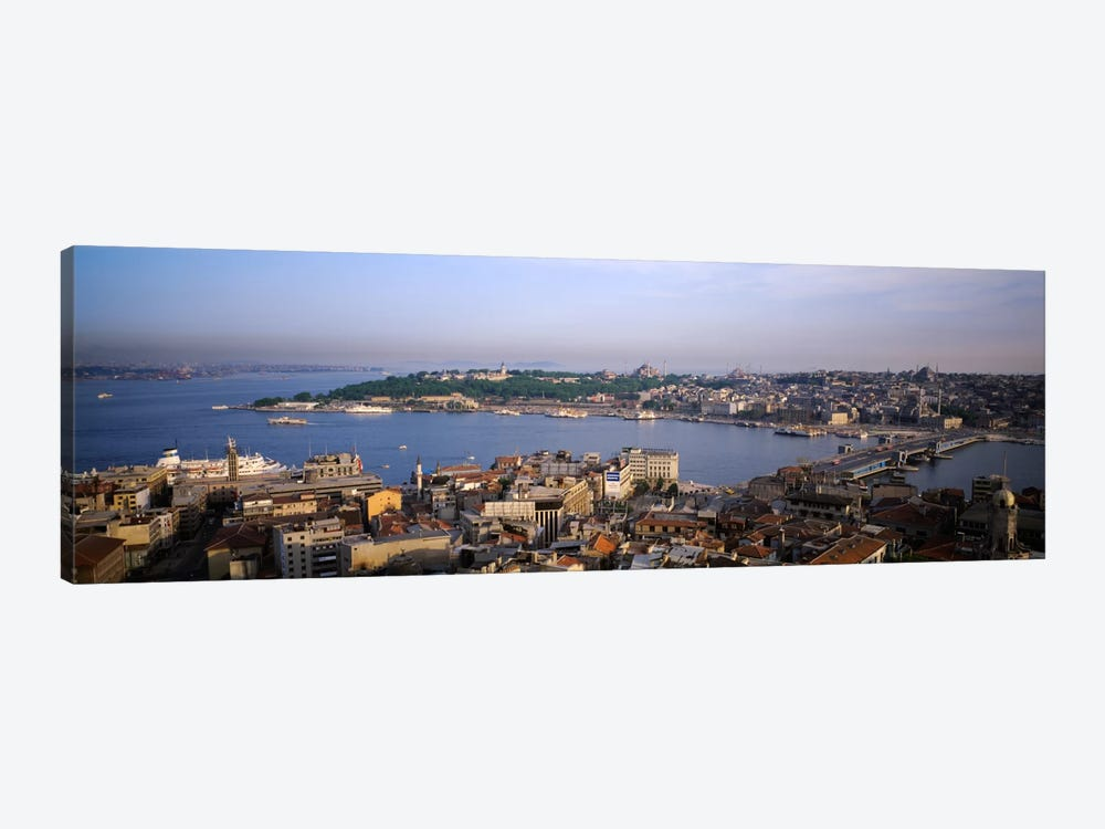 High-Angle View Of The Golden Horn (Halic) And Surrounding Neighborhoods, Istanbul, Turkey by Panoramic Images 1-piece Canvas Print