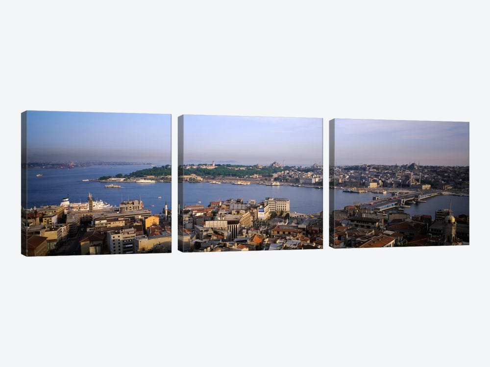 High-Angle View Of The Golden Horn (Halic) And Surrounding Neighborhoods, Istanbul, Turkey 3-piece Canvas Print