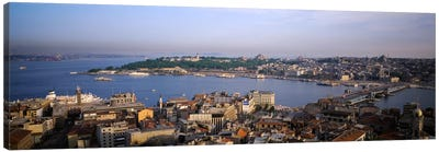 High-Angle View Of The Golden Horn (Halic) And Surrounding Neighborhoods, Istanbul, Turkey Canvas Art Print