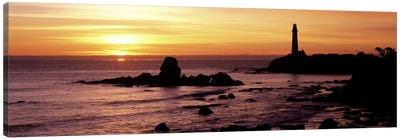 Silhouette of a lighthouse at sunset, Pigeon Point Lighthouse, San Mateo County, California, USA Canvas Art Print
