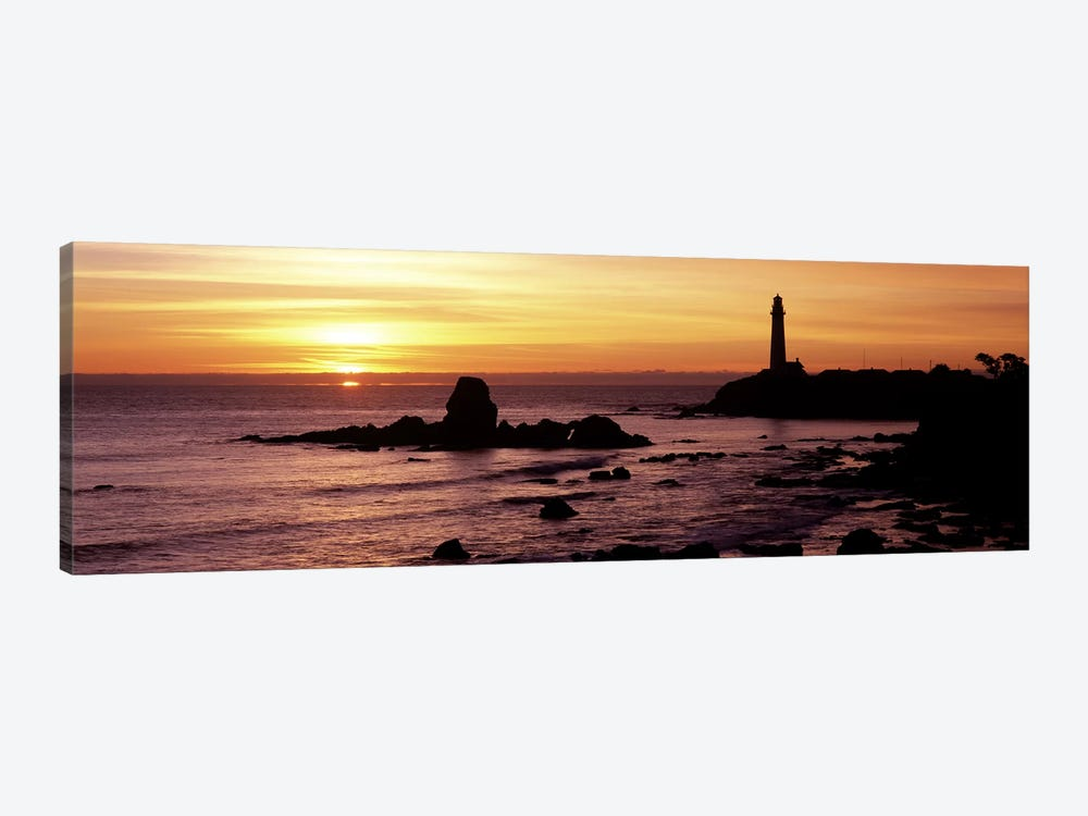 Silhouette of a lighthouse at sunset, Pigeon Point Lighthouse, San Mateo County, California, USA by Panoramic Images 1-piece Canvas Art Print