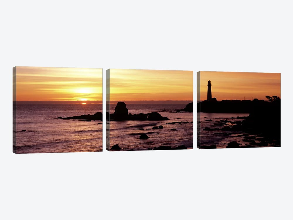 Silhouette of a lighthouse at sunset, Pigeon Point Lighthouse, San Mateo County, California, USA 3-piece Canvas Print