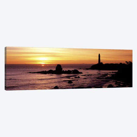 Silhouette of a lighthouse at sunset, Pigeon Point Lighthouse, San Mateo County, California, USA Canvas Print #PIM7811} by Panoramic Images Canvas Wall Art
