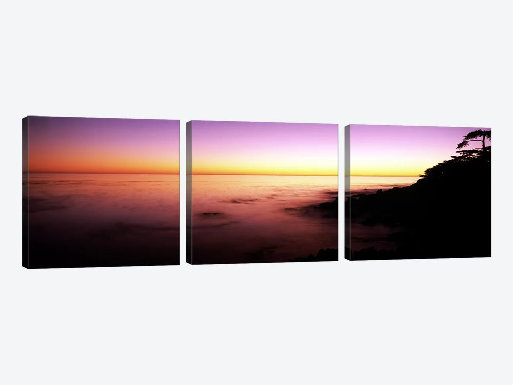 Sea at sunset, Point Lobos State Reserve, Carmel, Monterey County, California, USA by Panoramic Images 3-piece Canvas Art