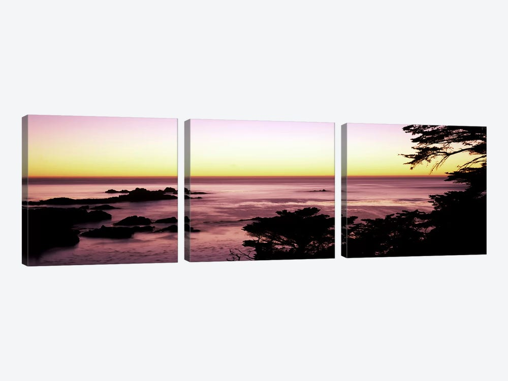 Sea at sunset, Point Lobos State Reserve, Carmel, Monterey County, California, USA #2 by Panoramic Images 3-piece Canvas Art Print