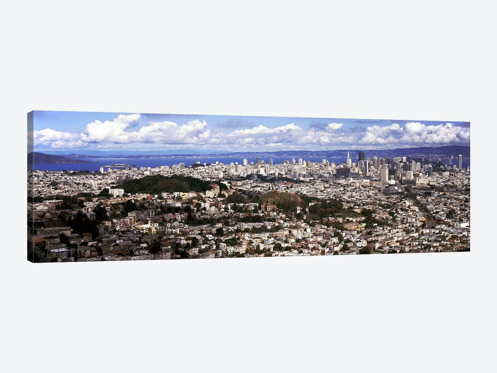 Cityscape viewed from the Twin Peaks, San Francisco, California, USA by Panoramic Images 1-piece Canvas Print