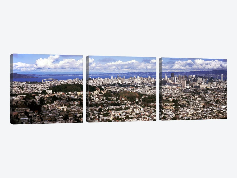 Cityscape viewed from the Twin Peaks, San Francisco, California, USA by Panoramic Images 3-piece Canvas Print