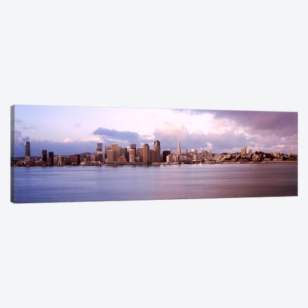 San Francisco city skyline at sunrise viewed from Treasure Island side, San Francisco Bay, California, USA Canvas Print #PIM7821} by Panoramic Images Canvas Print