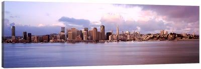 San Francisco city skyline at sunrise viewed from Treasure Island side, San Francisco Bay, California, USA Canvas Print #PIM7821