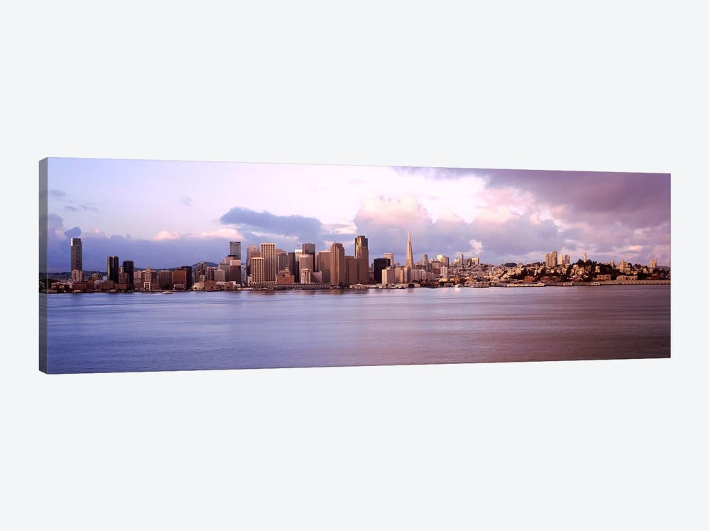 San Francisco city skyline at sunrise viewed from Treasure Island side, San Francisco Bay, California, USA 1-piece Canvas Wall Art