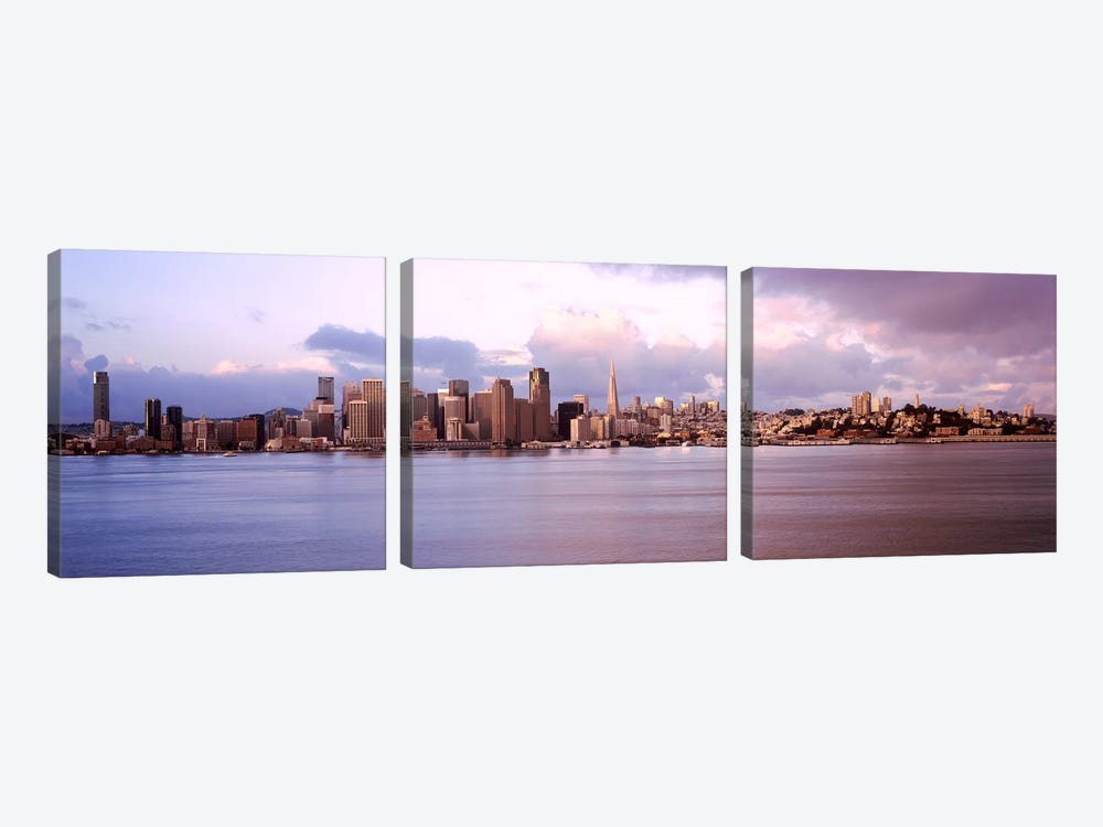 San Francisco city skyline at sunrise viewed from Treasure Island side, San Francisco Bay, California, USA by Panoramic Images 3-piece Canvas Wall Art