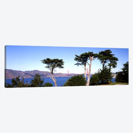 Suspension bridge across a bay, Golden Gate Bridge, San Francisco Bay, San Francisco, California, USA #2 Canvas Print #PIM7822} by Panoramic Images Canvas Art Print