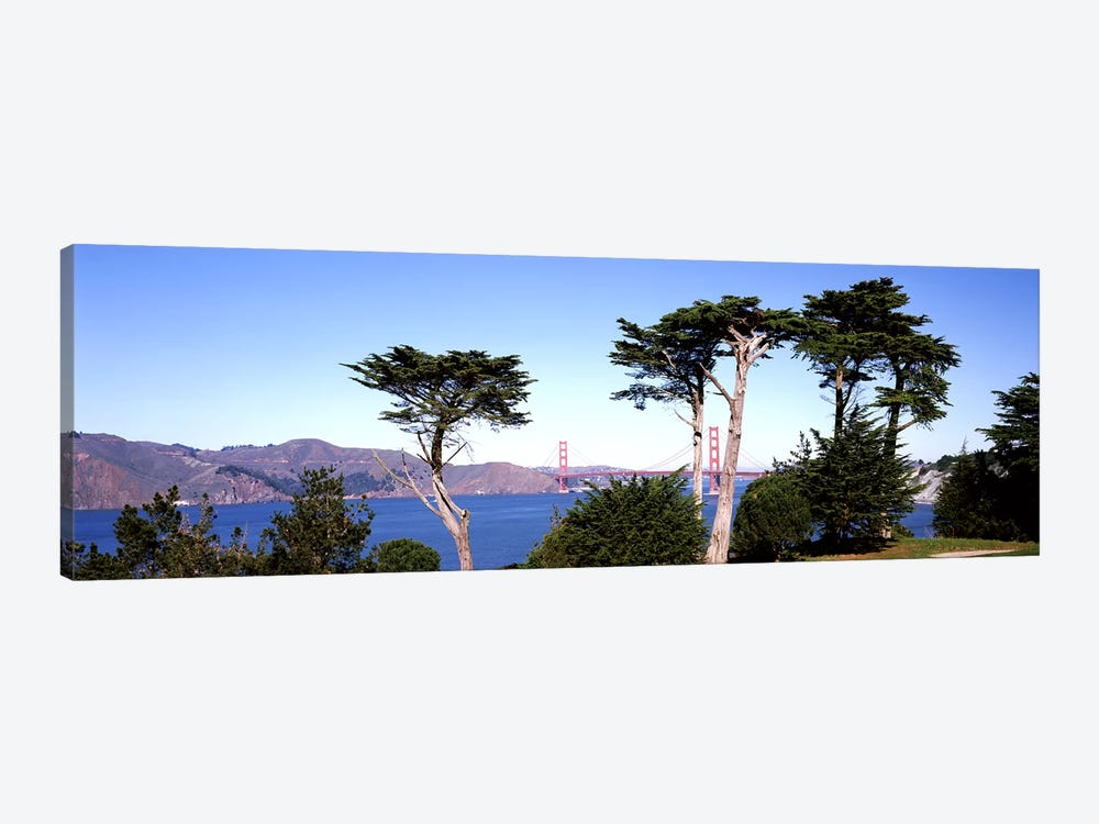 Suspension bridge across a bay, Golden Gate Bridge, San Francisco Bay, San Francisco, California, USA #2 by Panoramic Images 1-piece Art Print
