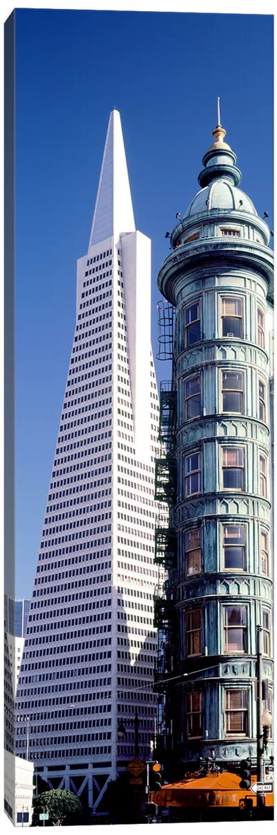 Low angle view of towers, Columbus Tower, Transamerica Pyramid, San Francisco, California, USA Canvas Art Print