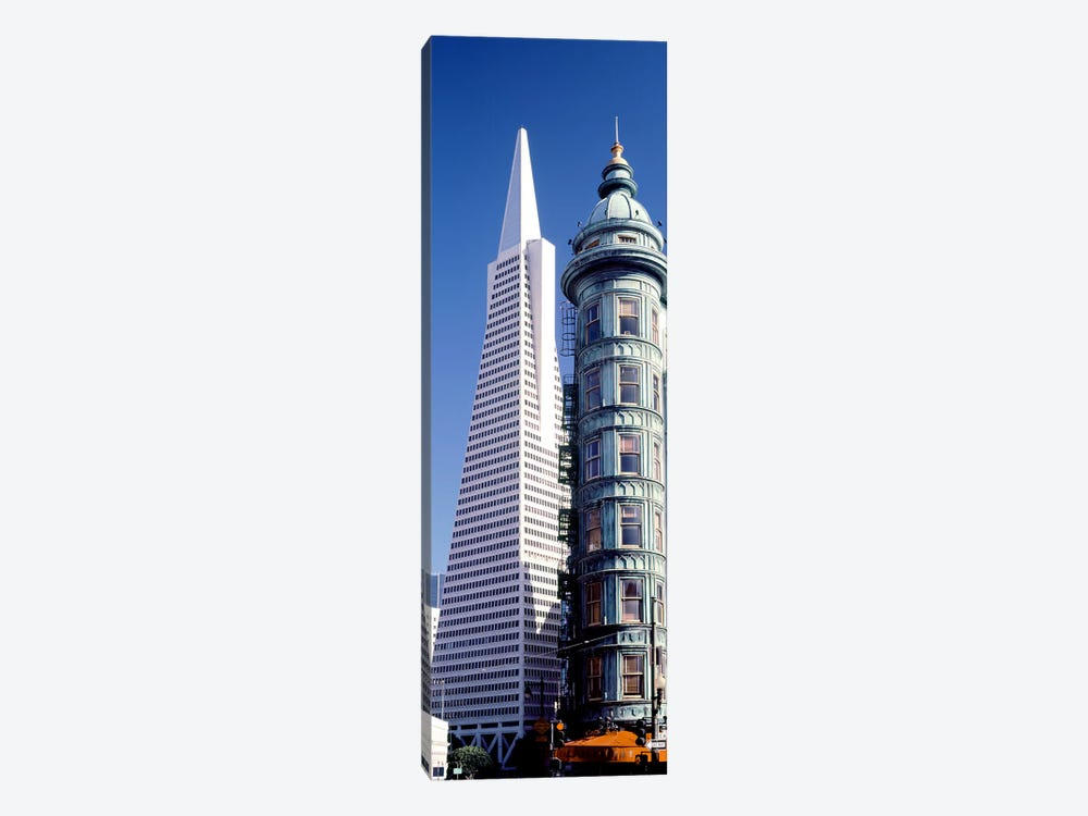 Low angle view of towers, Columbus Tower, Transamerica Pyramid, San Francisco, California, USA by Panoramic Images 1-piece Canvas Art