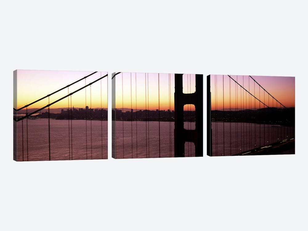 Suspension bridge at sunrise, Golden Gate Bridge, San Francisco Bay, San Francisco, California, USA by Panoramic Images 3-piece Canvas Artwork