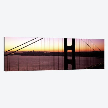 Suspension bridge at sunrise, Golden Gate Bridge, San Francisco Bay, San Francisco, California, USA Canvas Print #PIM7825} by Panoramic Images Canvas Wall Art
