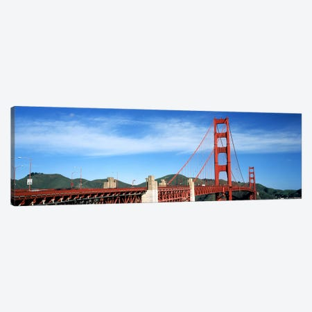 Suspension bridge across a bay, Golden Gate Bridge, San Francisco Bay, San Francisco, California, USA #3 Canvas Print #PIM7829} by Panoramic Images Art Print