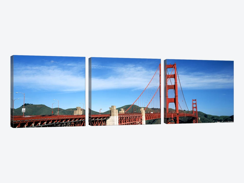 Suspension bridge across a bay, Golden Gate Bridge, San Francisco Bay, San Francisco, California, USA #3 by Panoramic Images 3-piece Canvas Artwork