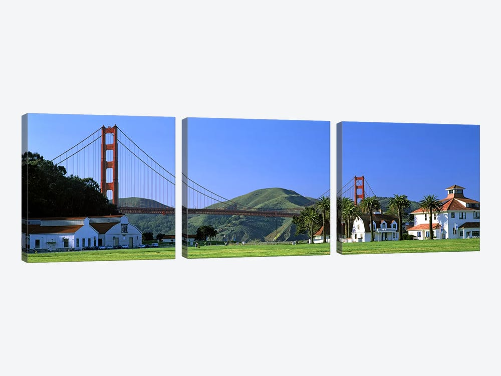 Bridge viewed from a park, Golden Gate Bridge, Crissy Field, San Francisco, California, USA by Panoramic Images 3-piece Canvas Art