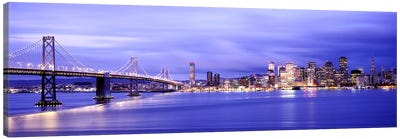 Bridge lit up at duskBay Bridge, San Francisco Bay, San Francisco, California, USA Canvas Print #PIM7832