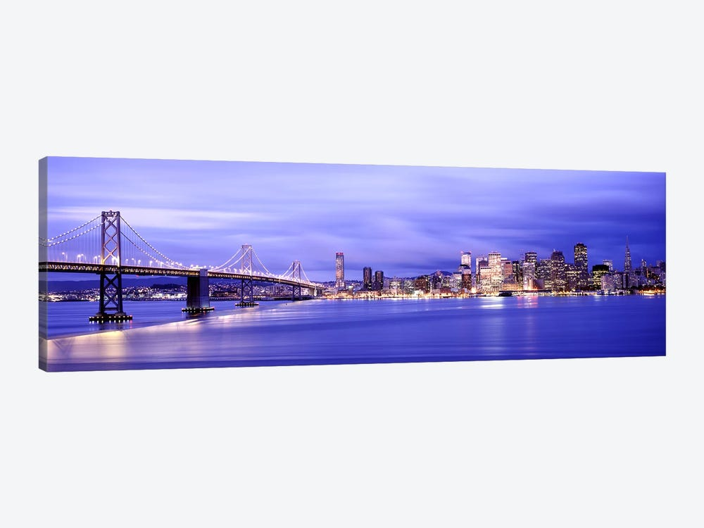 Bridge lit up at duskBay Bridge, San Francisco Bay, San Francisco, California, USA by Panoramic Images 1-piece Canvas Wall Art