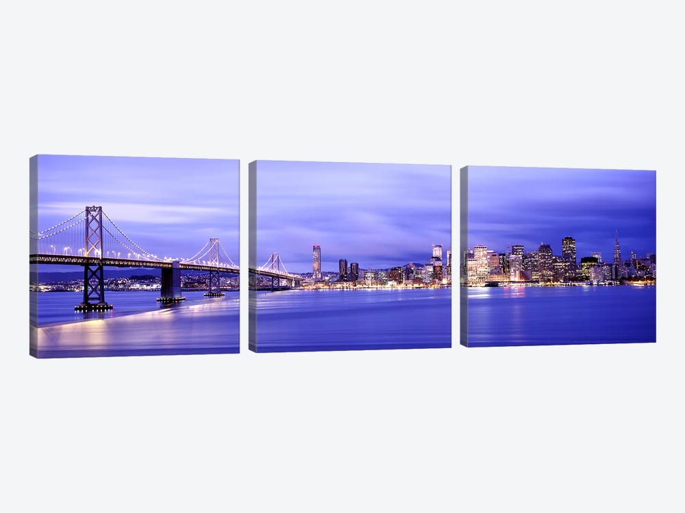 Bridge lit up at duskBay Bridge, San Francisco Bay, San Francisco, California, USA by Panoramic Images 3-piece Canvas Art
