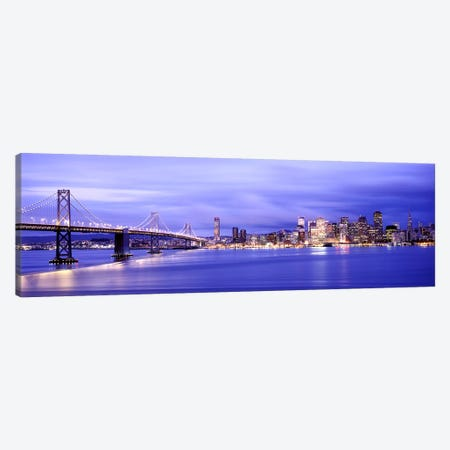 Bridge lit up at duskBay Bridge, San Francisco Bay, San Francisco, California, USA Canvas Print #PIM7832} by Panoramic Images Canvas Wall Art