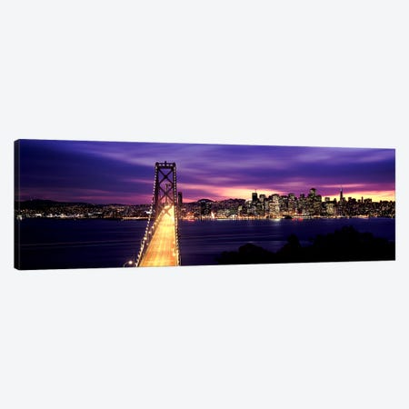 Bridge lit up at dusk, Bay Bridge, San Francisco Bay, San Francisco, California, USA Canvas Print #PIM7833} by Panoramic Images Canvas Artwork